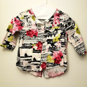 Womens Onque Casuals Top Snap Front Sleeve Blouse